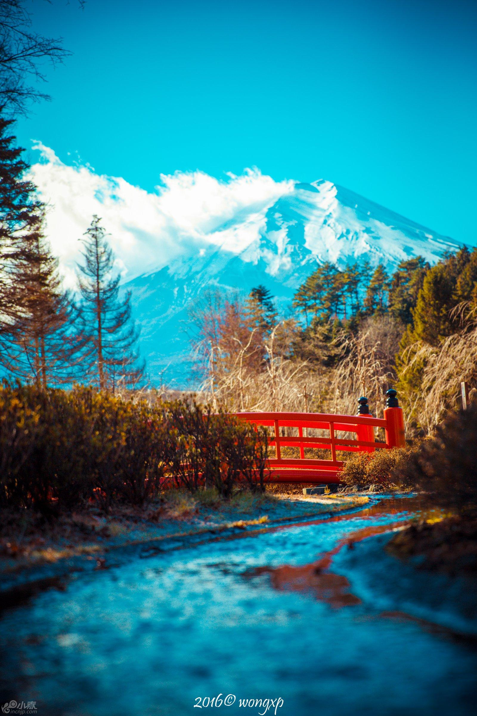 富士山下的小河流水