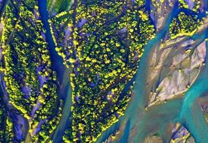 """初秋航拍新疆南部湿地""""大地的色彩"""""""