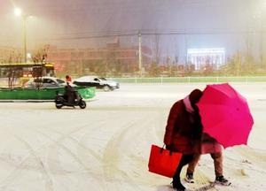 入冬首场最强雨雪来袭 内蒙古赤峰降下大雪