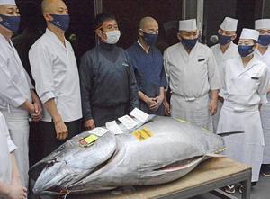 日本拍卖成交131万元年度金枪鱼王
