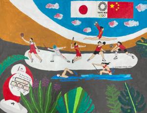 留日学子手绘奥运健儿风采 献礼中国奥运代表团